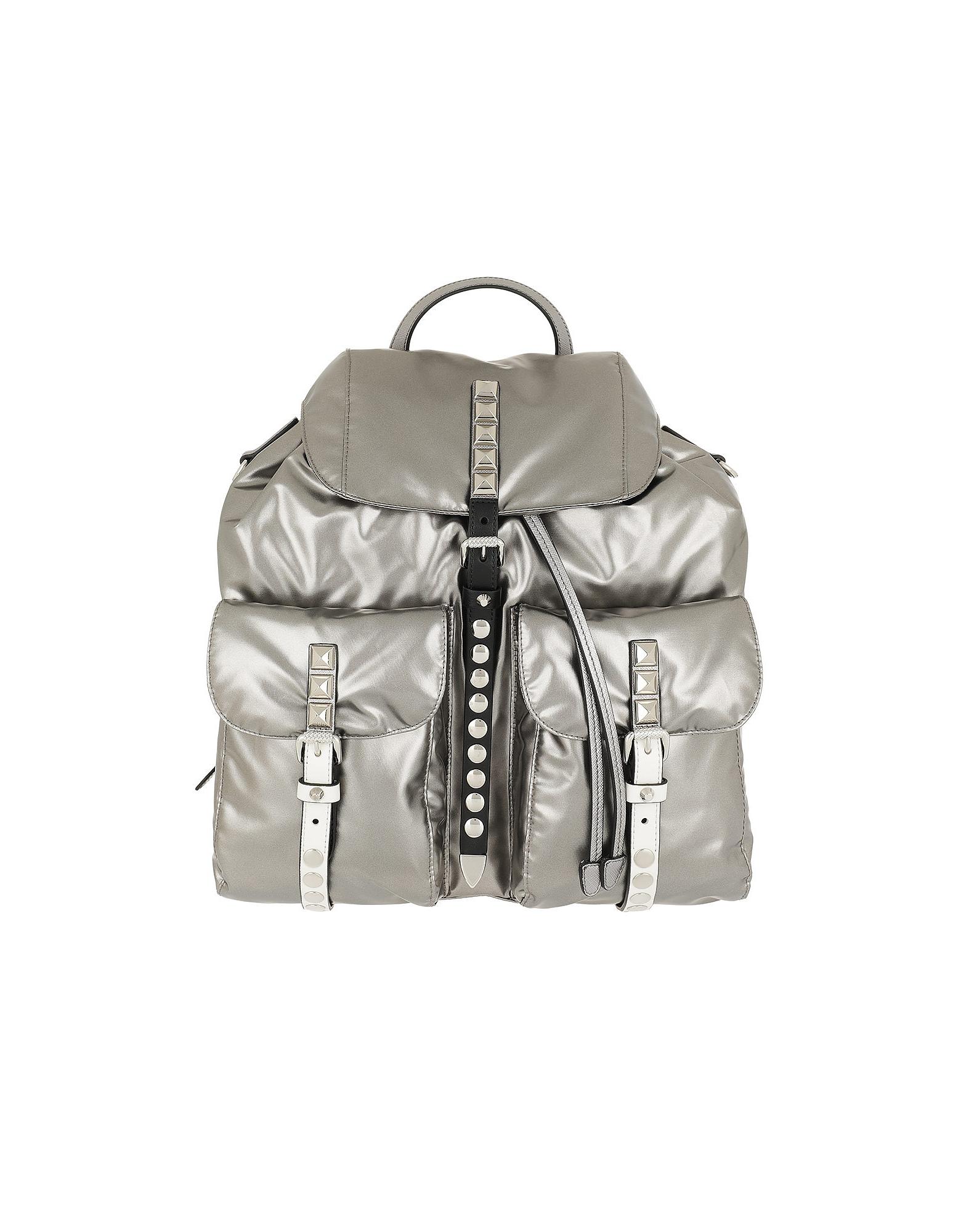 Prada Handbags, Metallic Backpack Nylon Iron/Black