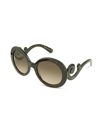 Prada - Swirled Temple Large Frame Sunglasses