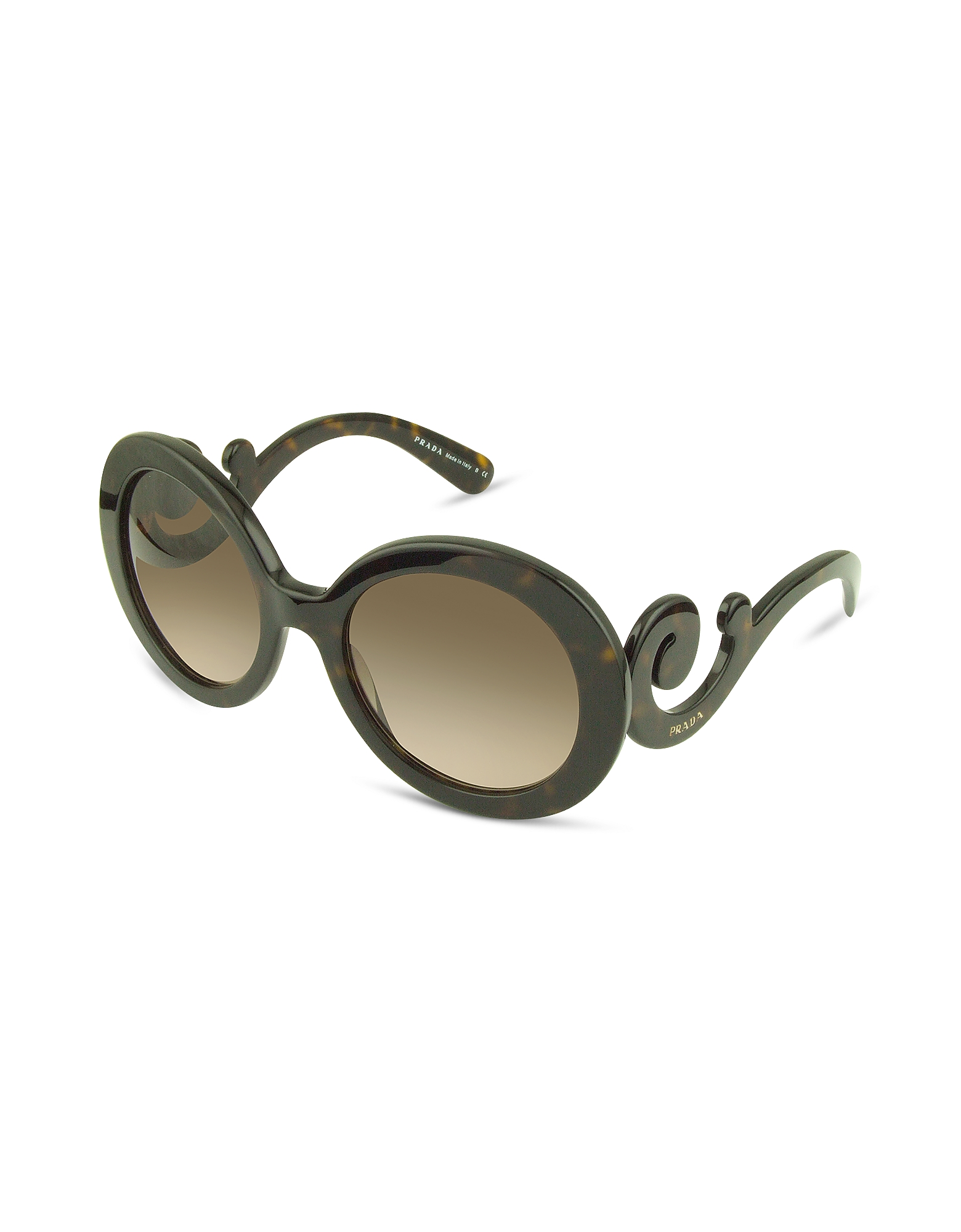Prada Designer Sunglasses, Swirled Temple Large Frame Sunglasses