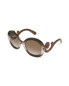 Swirled Temple Large Frame Sunglasses - Prada