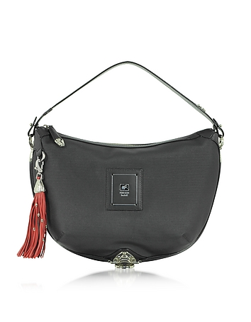 Piero Guidi - Linea Bold - Black Canvas Shoulder Bag