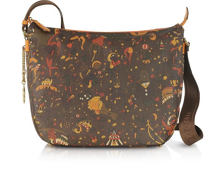 Magic Circus Brown and Orange Embossed Fabric Messenger - Piero Guidi