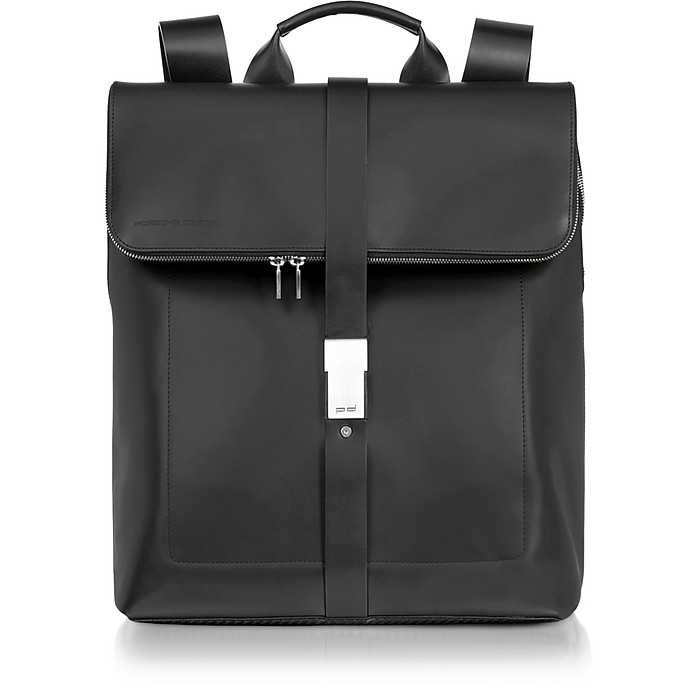 Black Leather Zippered Backpack - Porsche Design