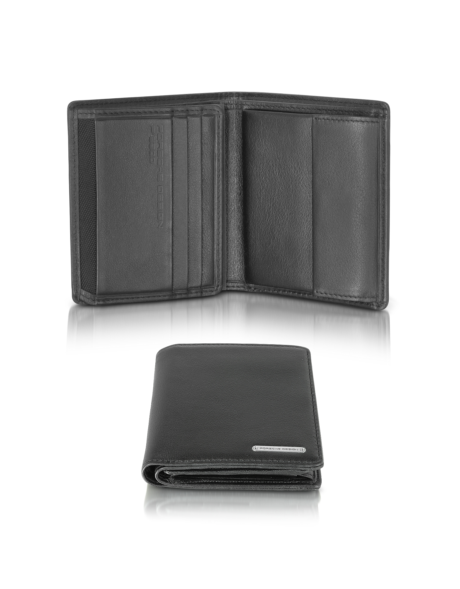 Porsche Design Wallets, CL 2.0 Black Square Leather Wallet w/Coin Pocket
