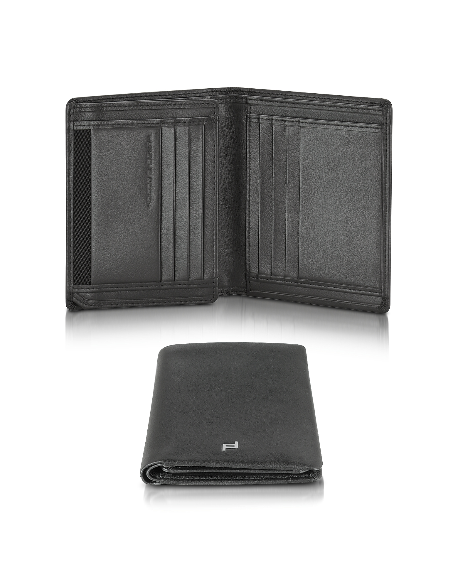 Porsche Design Wallets, Touch Black Leather V11 Vertical Billfold Wallet