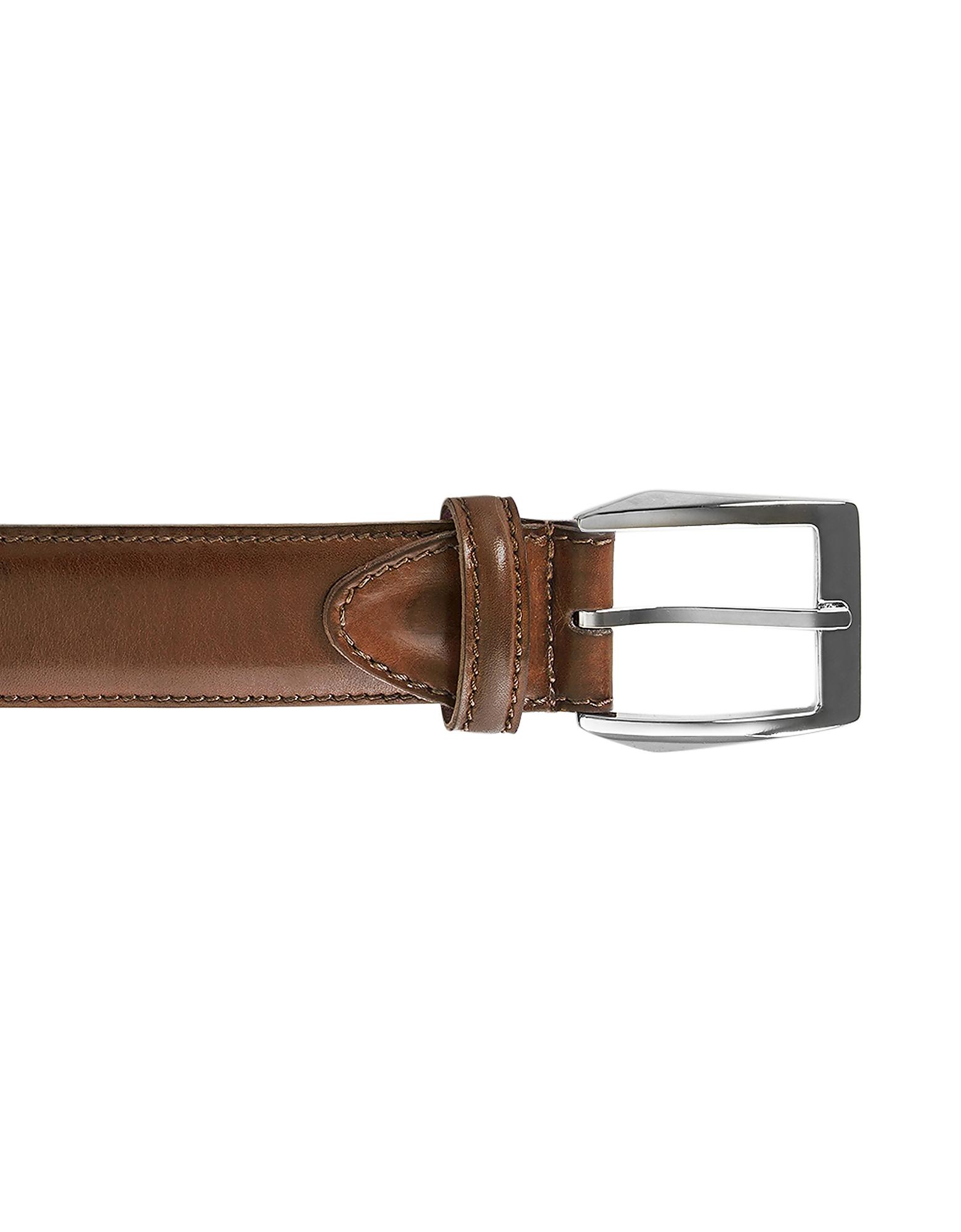 Pakerson Designer Men's Belts, Calci Cocoa Handmade Italian Leather Belt