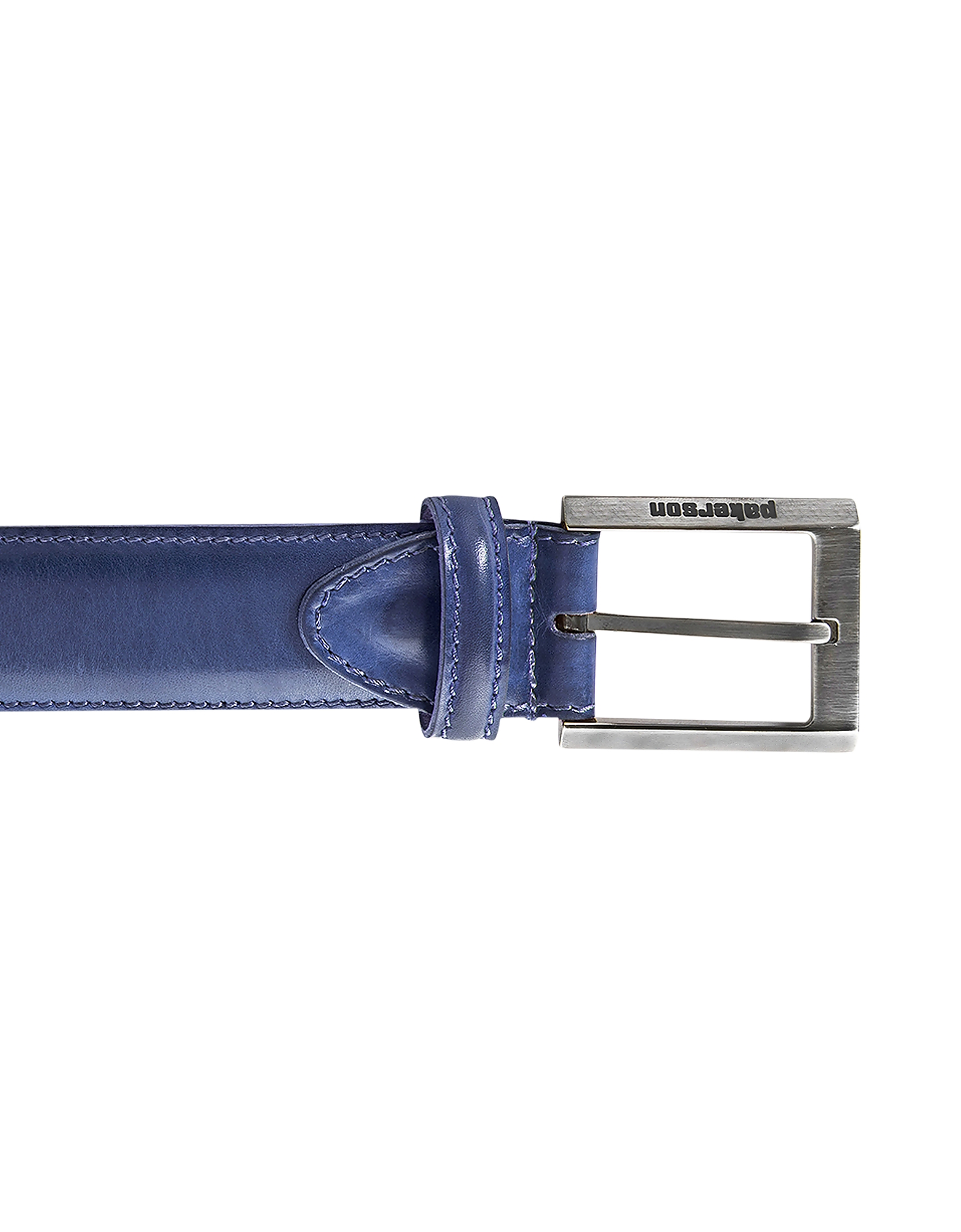 Pakerson Designer Men's Belts, Volterra Navy Blue Handmade Italian Leather Belt