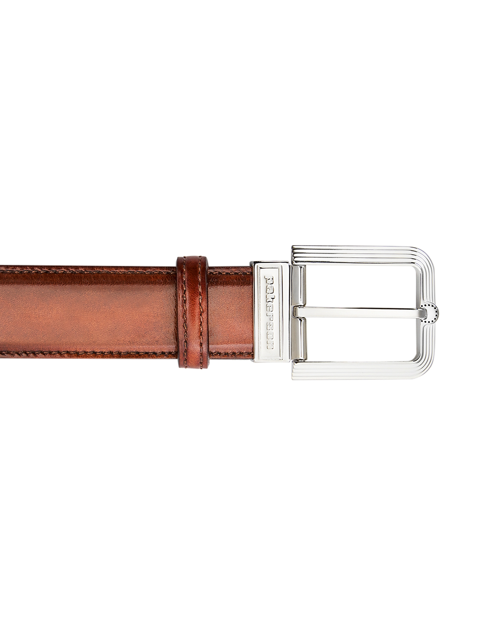Pakerson Designer Men's Belts, Fiesole Wood Italian Leather Belt w/ Silver Buckle