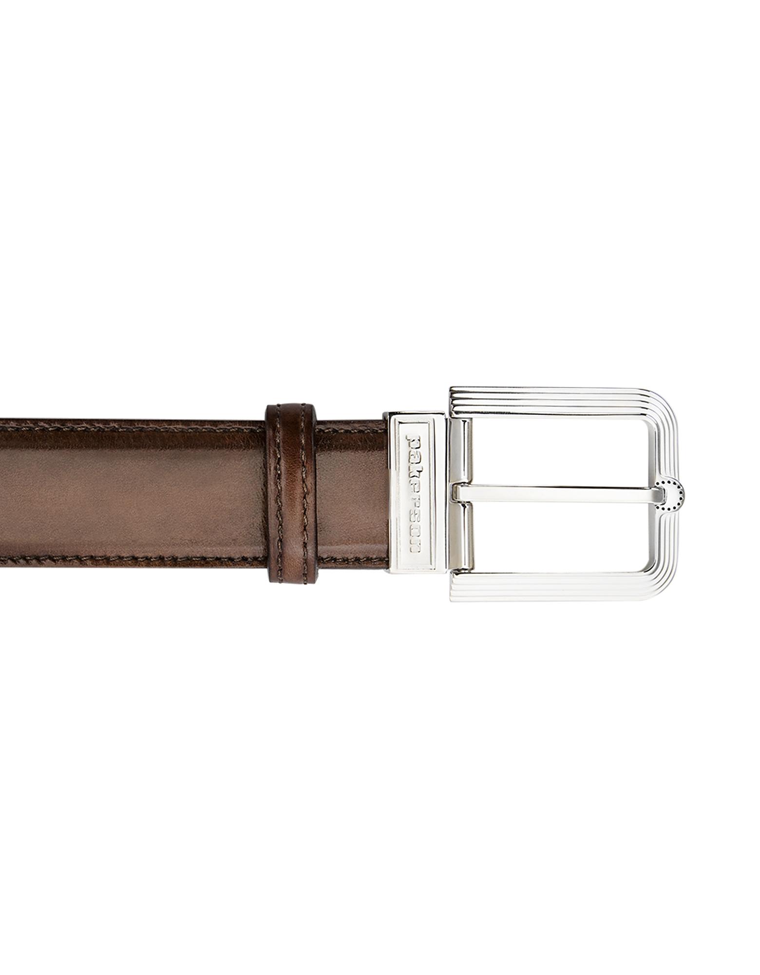 Pakerson Designer Men's Belts, Fiesole Coffee Italian Leather Belt w/ Silver Buckle
