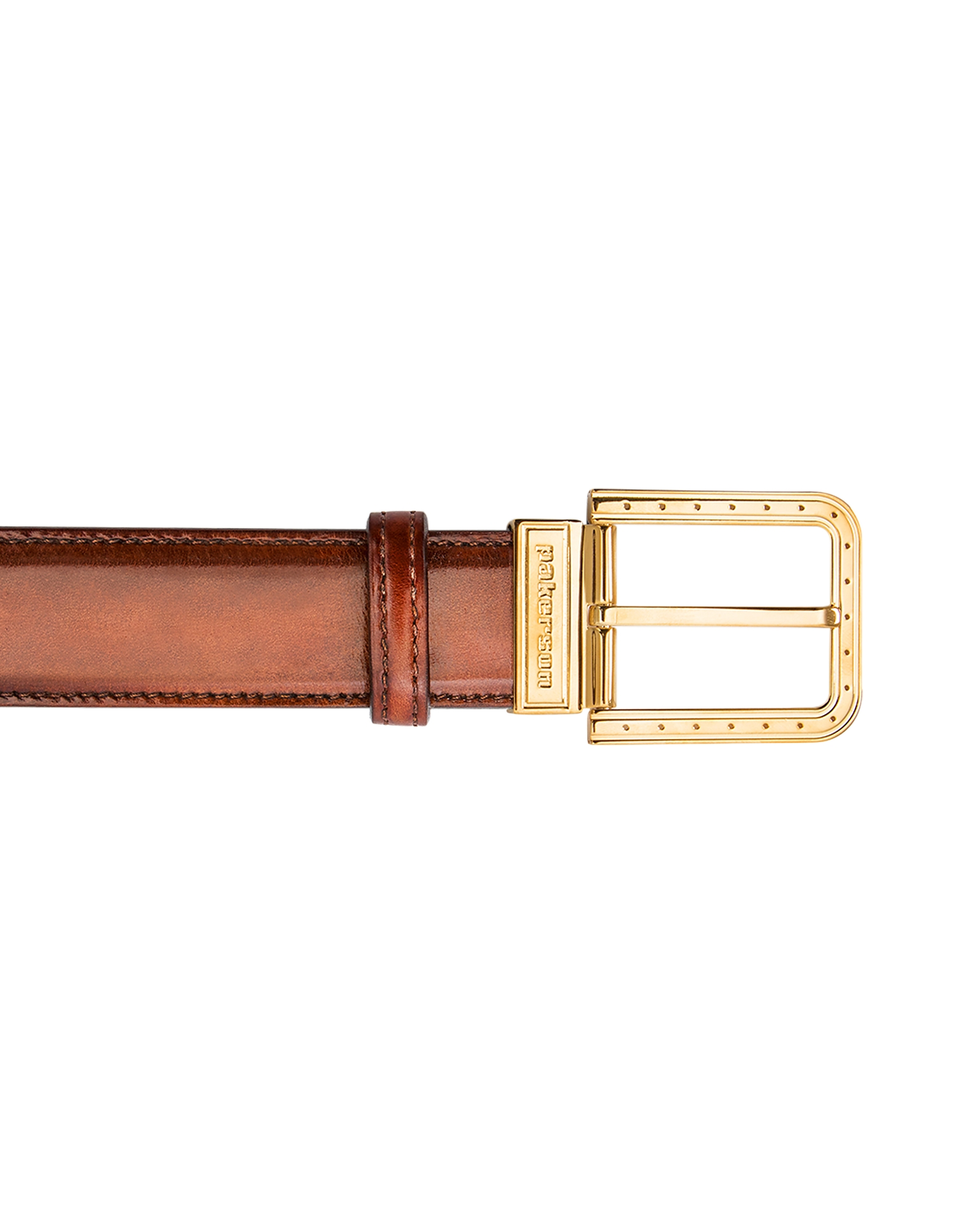 Pakerson Designer Men's Belts, Ripa Wood Italian Leather Belt w/ Gold Buckle
