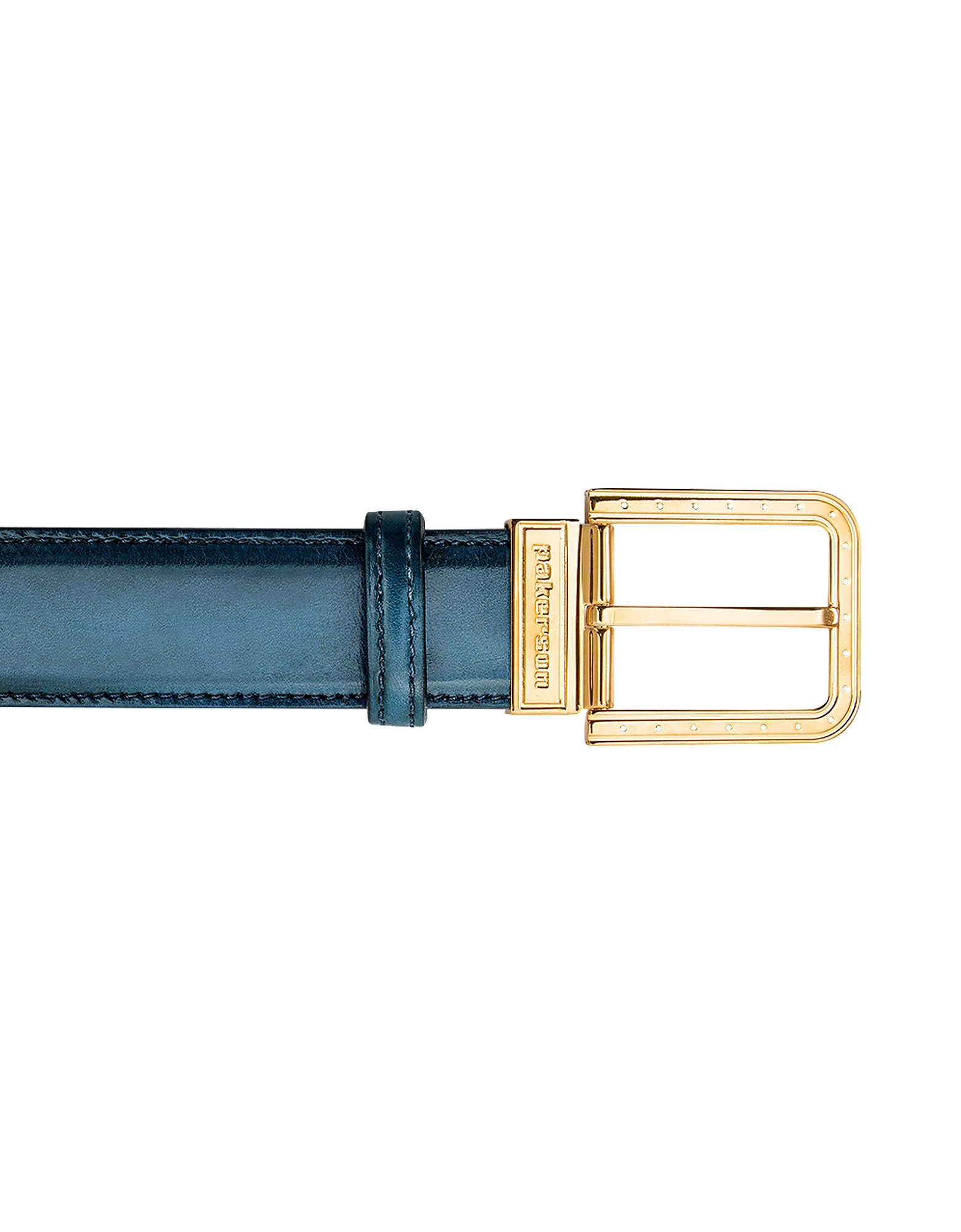 Pakerson Designer Men's Belts, Ripa Blue Island Italian Leather Belt w/ Gold Buckle