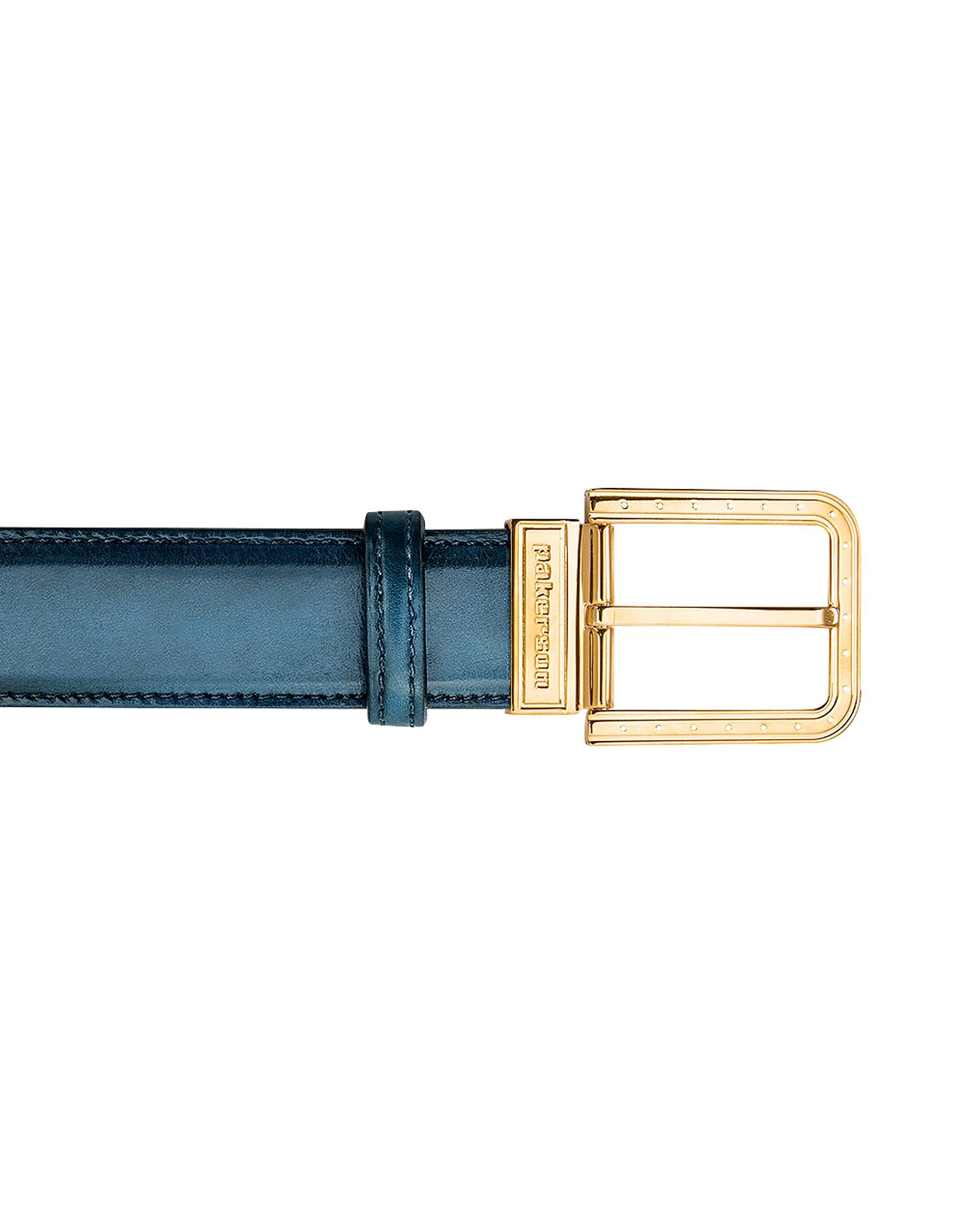 Ripa Blue Island Italian Leather Belt w/ Gold Buckle, Blue / green