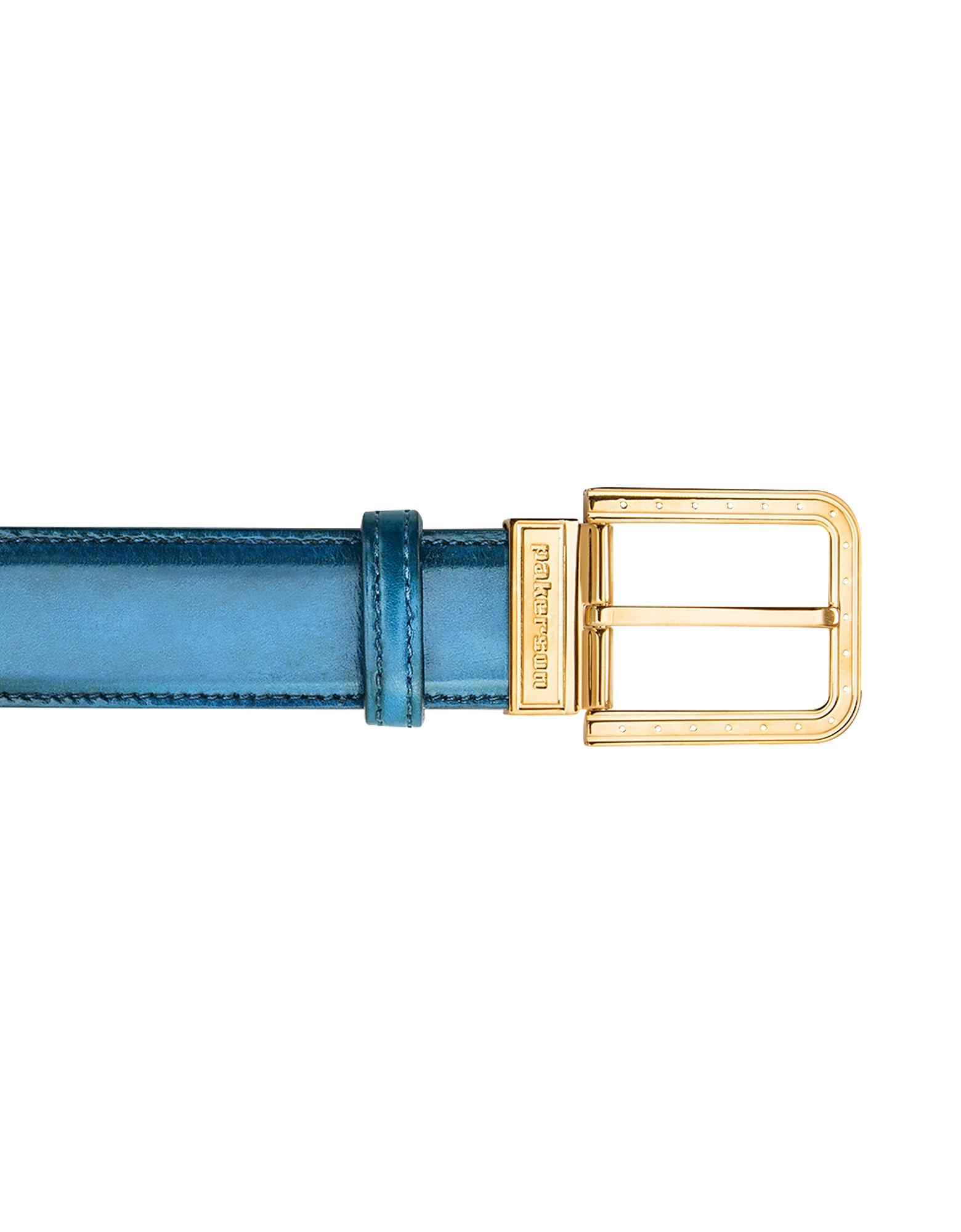 Pakerson Designer Men's Belts, Ripa Blue Bay Italian Leather Belt w/ Gold Buckle
