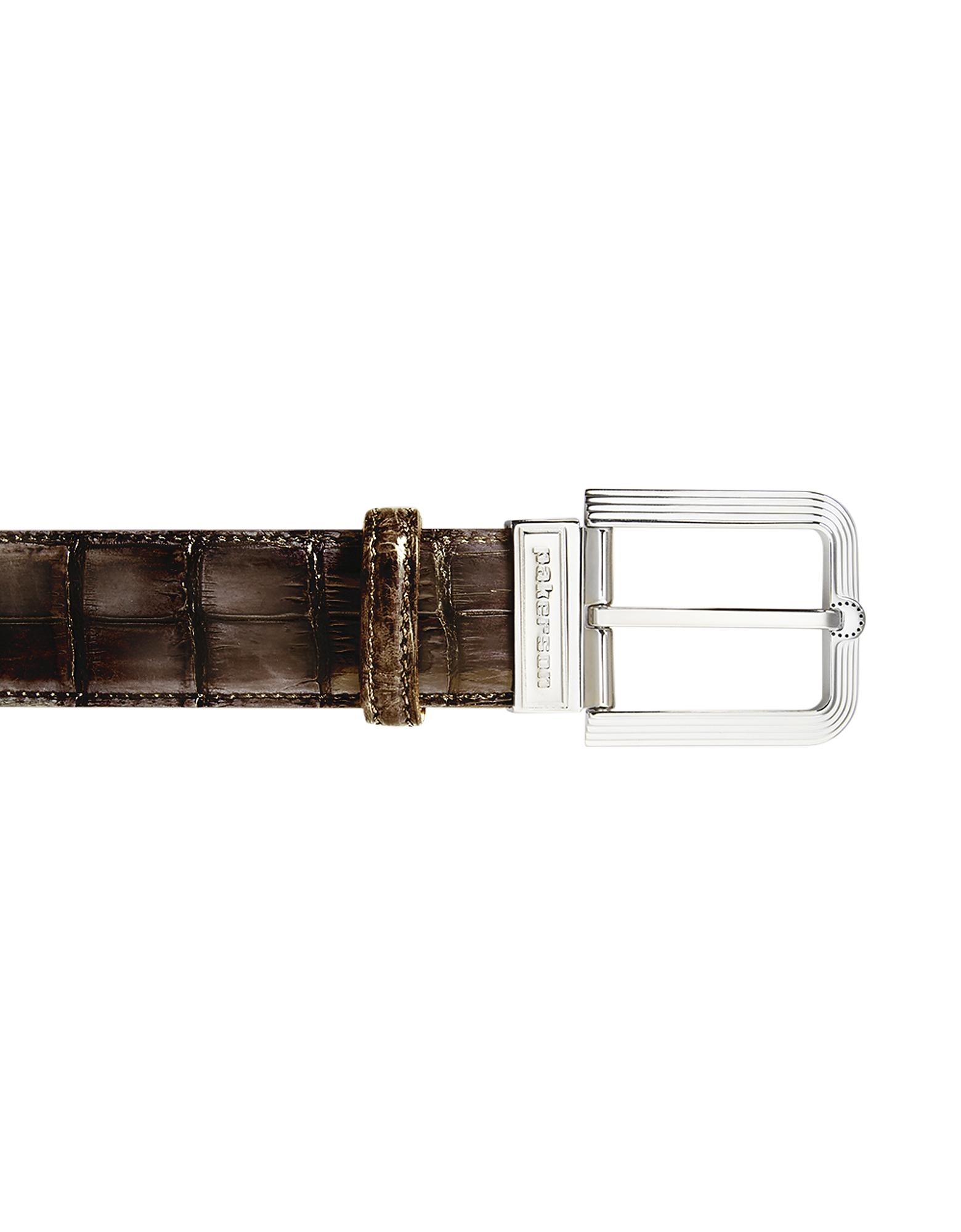Fiesole Coffee Alligator Leather Belt w/ Silver Buckle, Brown