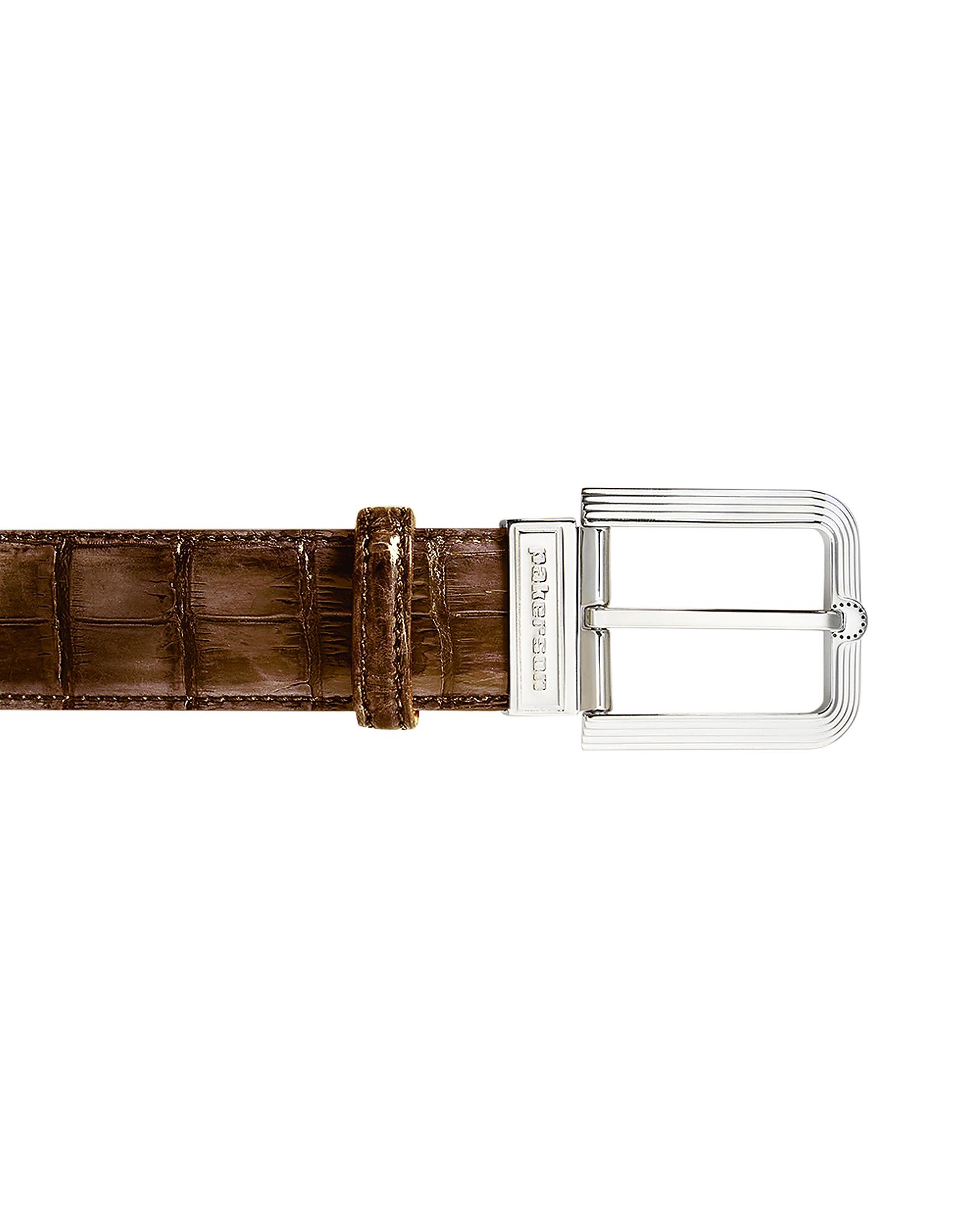 Fiesole Timber Alligator Leather Belt w/ Silver Buckle, Brown