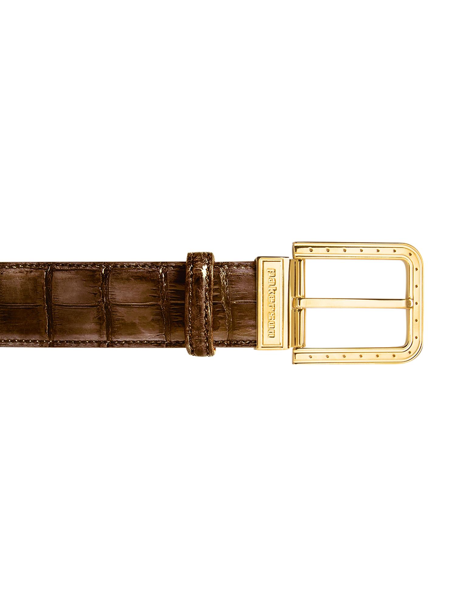 Pakerson Designer Men's Belts, Ripa Timber Alligator Leather Belt w/ Gold Buckle
