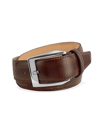 Men's Coffee Brown Hand Painted Italian Leather Belt