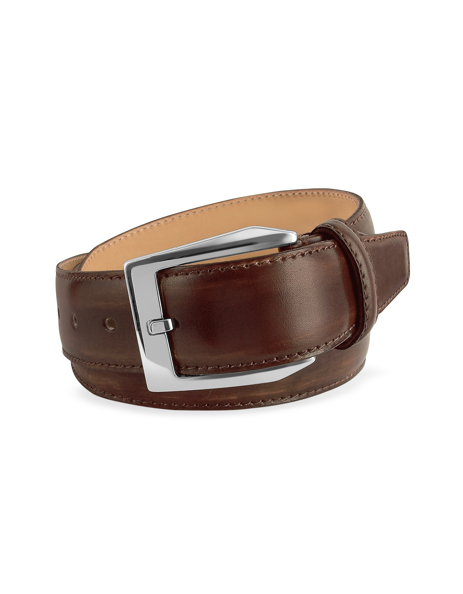 Image of Pakerson Designer Men's Belts, Men's Coffee Brown Hand Painted Italian Leather Belt