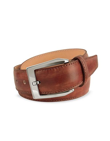 Foto Pakerson Cintura in Pelle Marrone Tinta a Mano Cinture Uomo