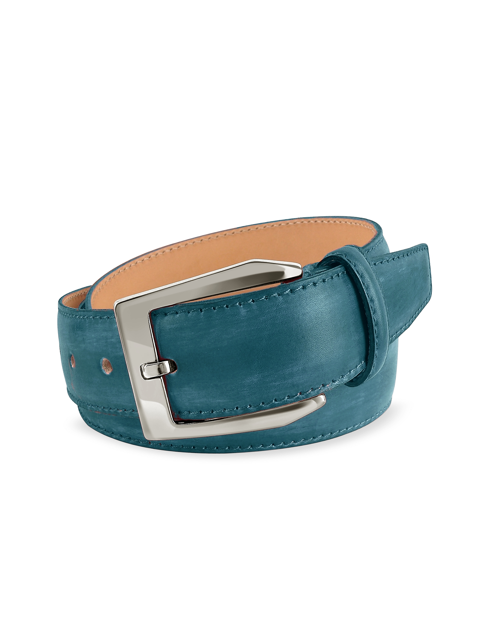 Pakerson Men's Belts, Men's Petrol Blue Hand Painted Italian Leather Belt