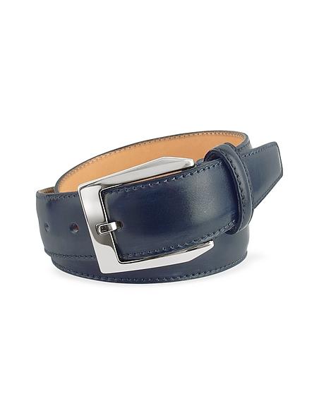 Foto Pakerson Cintura in Pelle  Blu Tinta a Mano Cinture Uomo