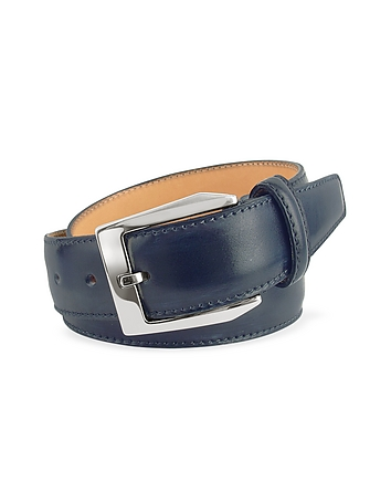 Pakerson - Men's Blue Hand Painted Italian Leather Belt