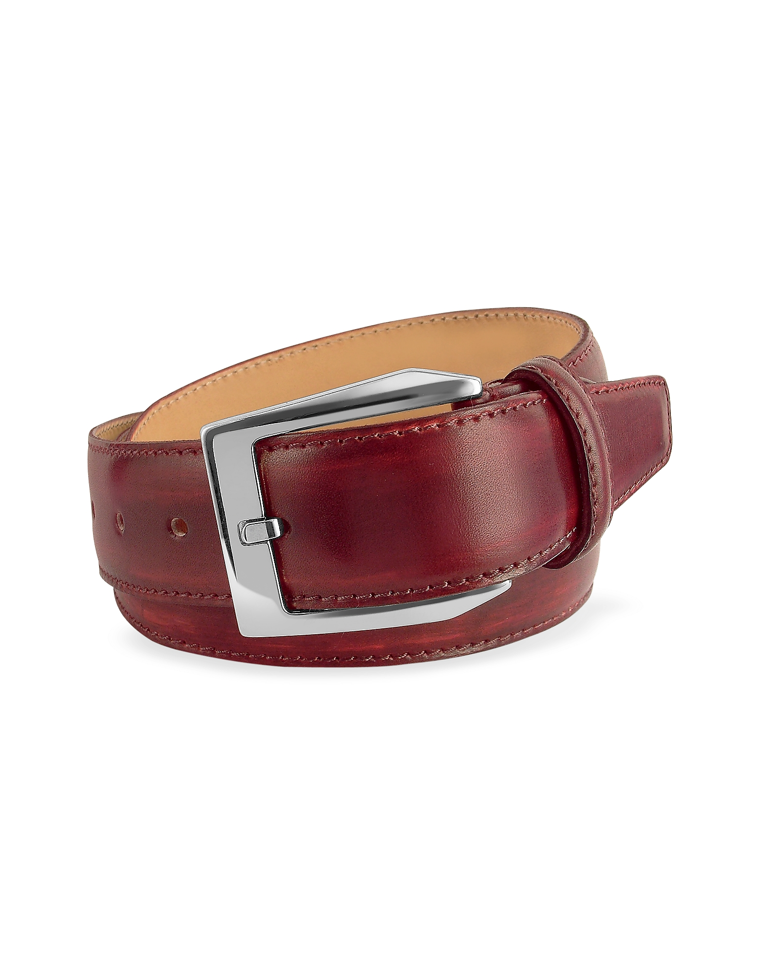 Pakerson Men's Belts, Men's Wine Red Hand Painted Italian Leather Belt