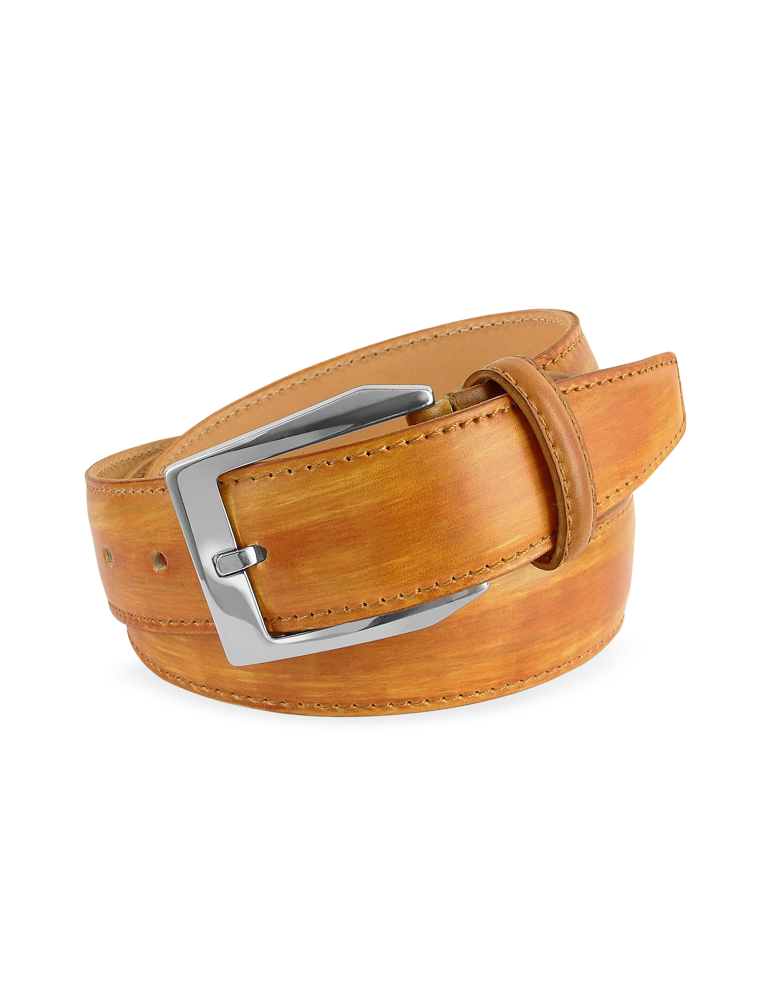 Image of Pakerson Designer Men's Belts, Men's Ocher Hand Painted Italian Leather Belt