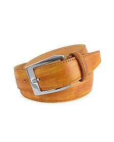 Men's Ocher Hand Painted Italian Leather Belt - Pakerson