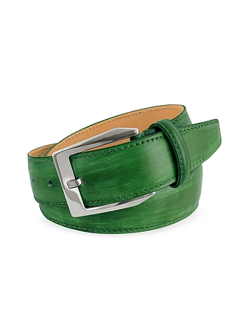 Pakerson - Men's Green Hand Painted Italian Leather Belt
