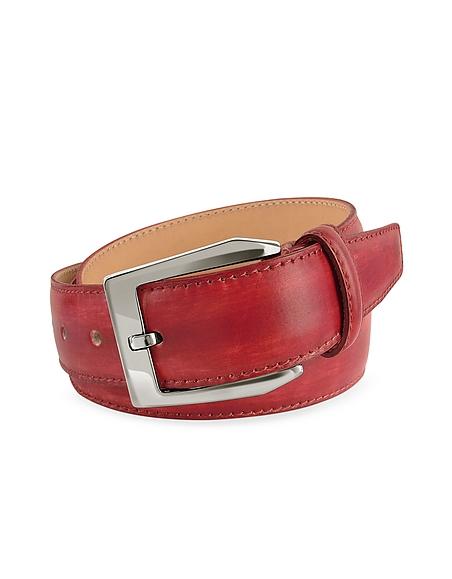 Foto Pakerson Cintura in Pelle Rossa Tinta a Mano Cinture Uomo