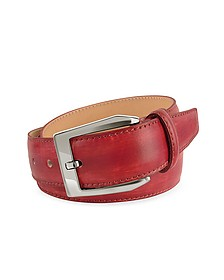 Men's Red Hand Painted Italian Leather Belt - Pakerson