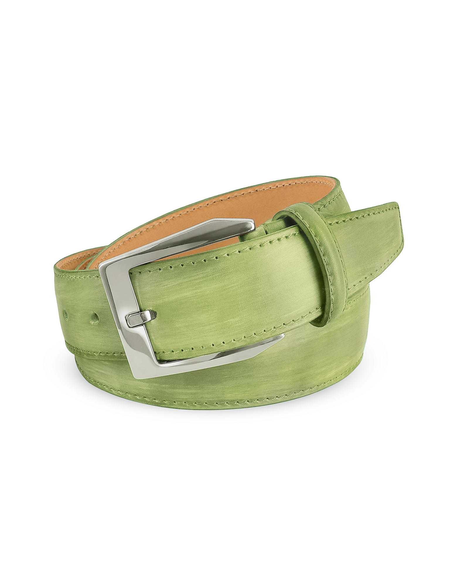 Men's Pistachio Green Hand Painted Italian Leather Belt