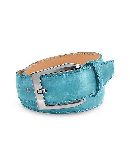 Pakerson Herrengürtel aus italienischem Leder von Hand gefärbt in himmelblau