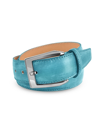 Pakerson - Men's Sky Blue Hand Painted Italian Leather Belt