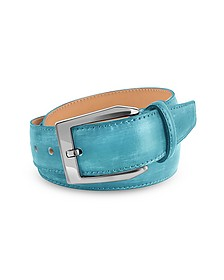 Men's Sky Blue Hand Painted Italian Leather Belt  - Pakerson