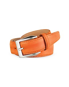 Men's Orange Hand Painted Italian Leather Belt  - Pakerson