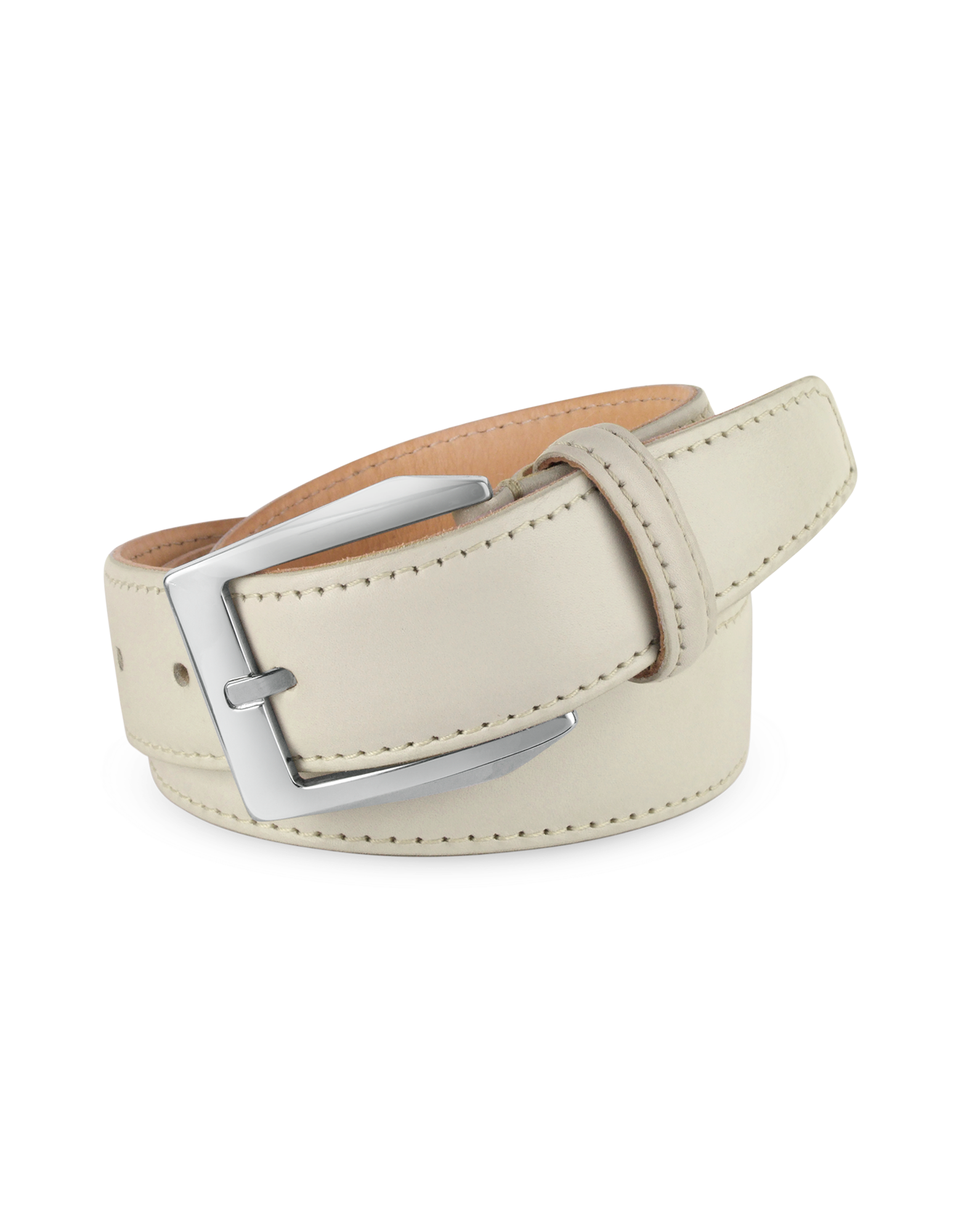 Image of Men's White Hand Painted Italian Leather Belt