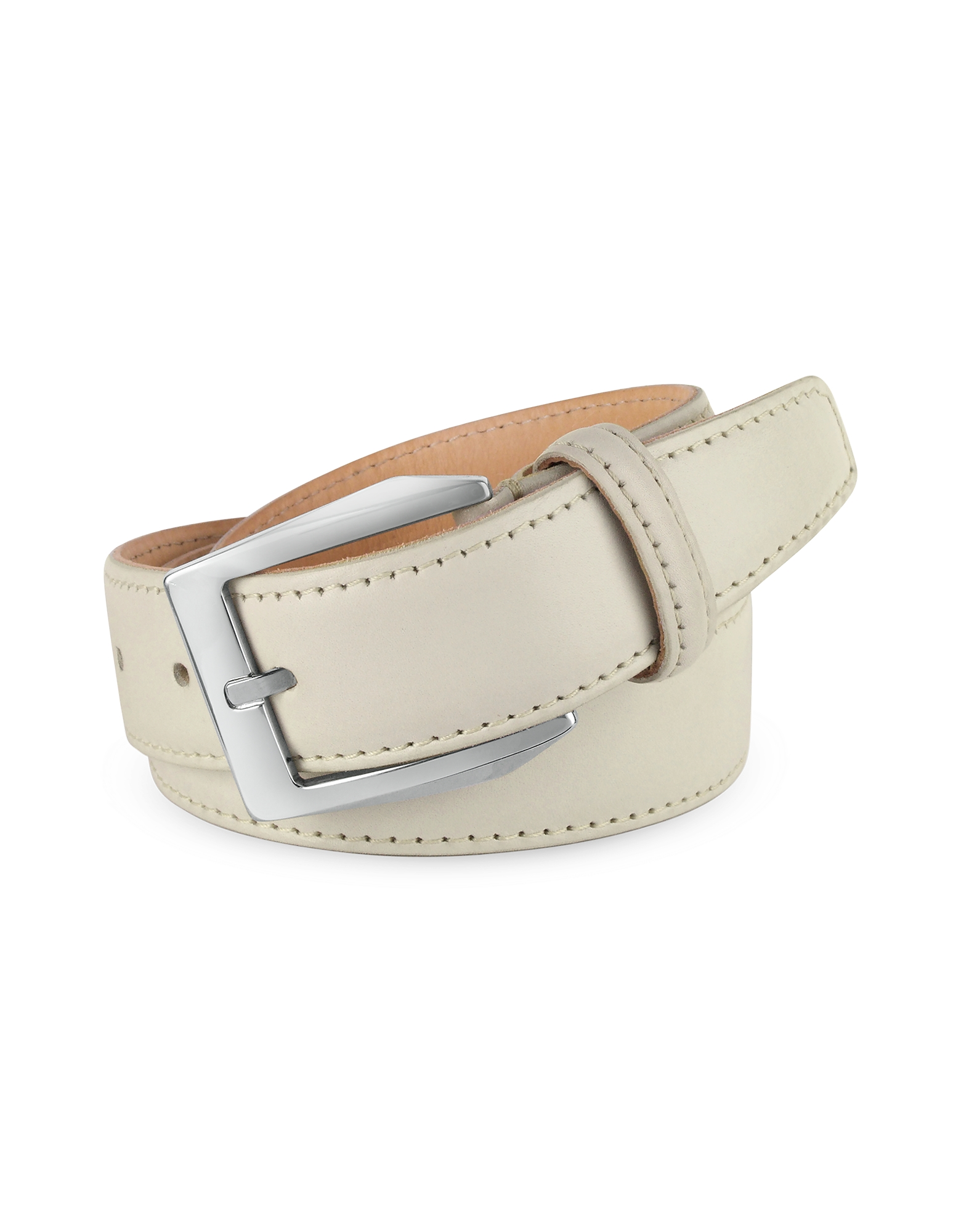 Men's White Hand Painted Italian Leather Belt