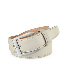 Men's White Hand Painted Italian Leather Belt  - Pakerson