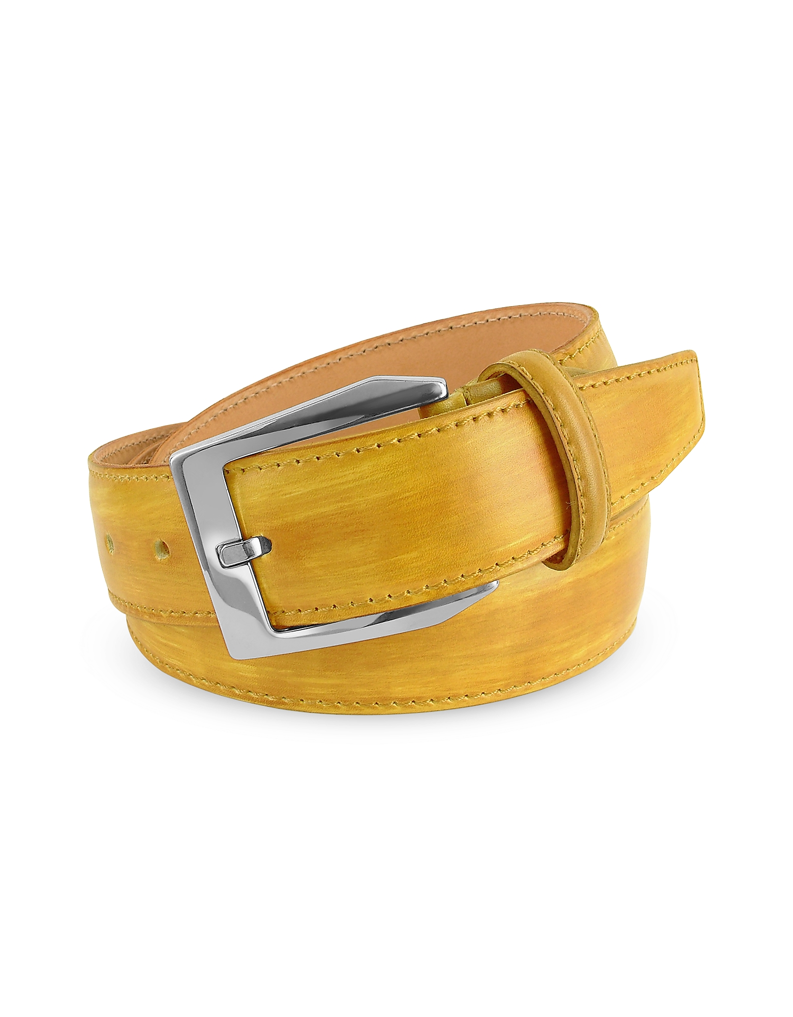 Pakerson Designer Men's Belts, Men's Yellow Hand Painted Italian Leather Belt