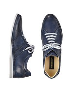 Lux-ID 206814 Signature Blue Leather Sneaker Shoes