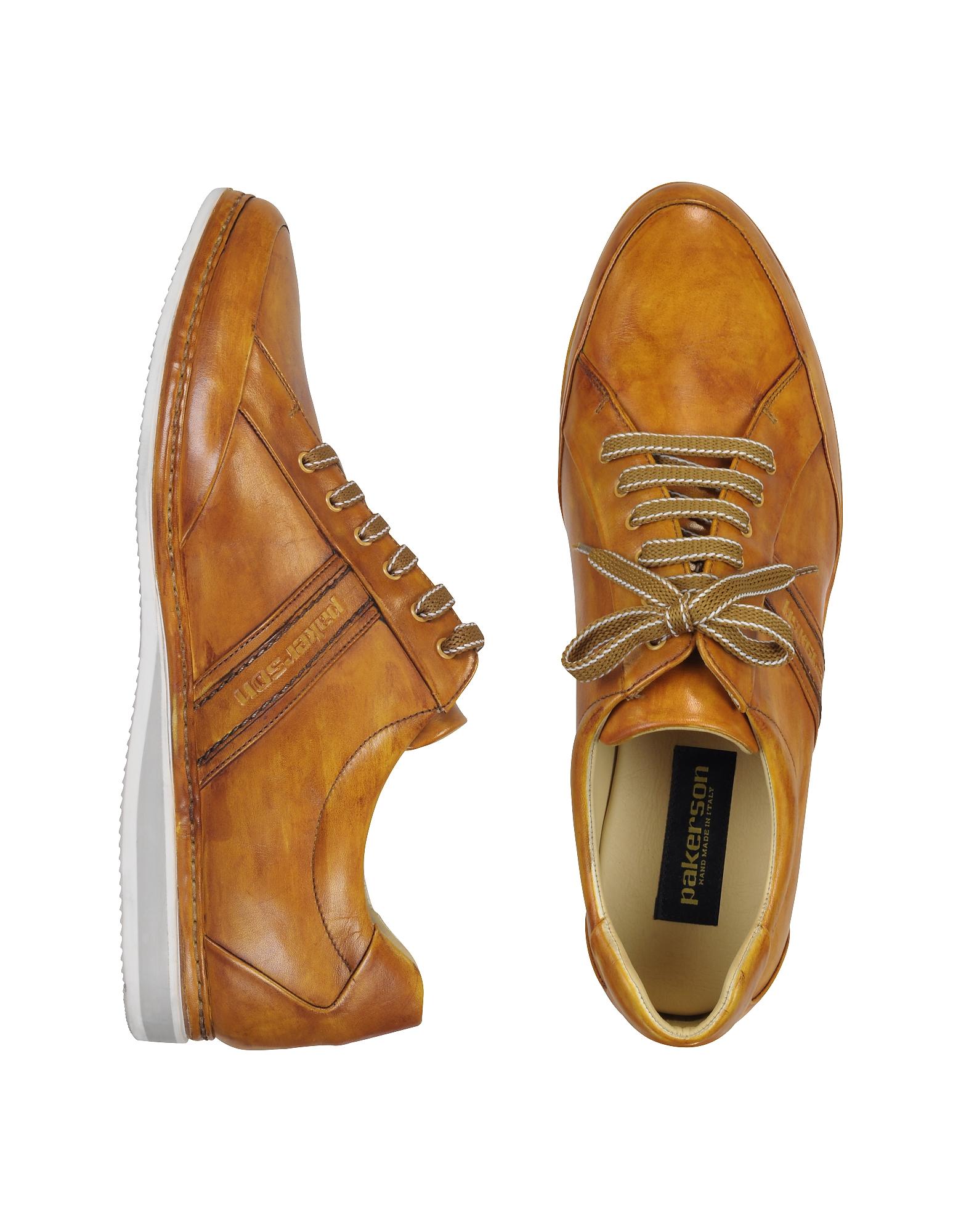 Горчично-желтые Кожаные Спортивные Туфли с Логотипом