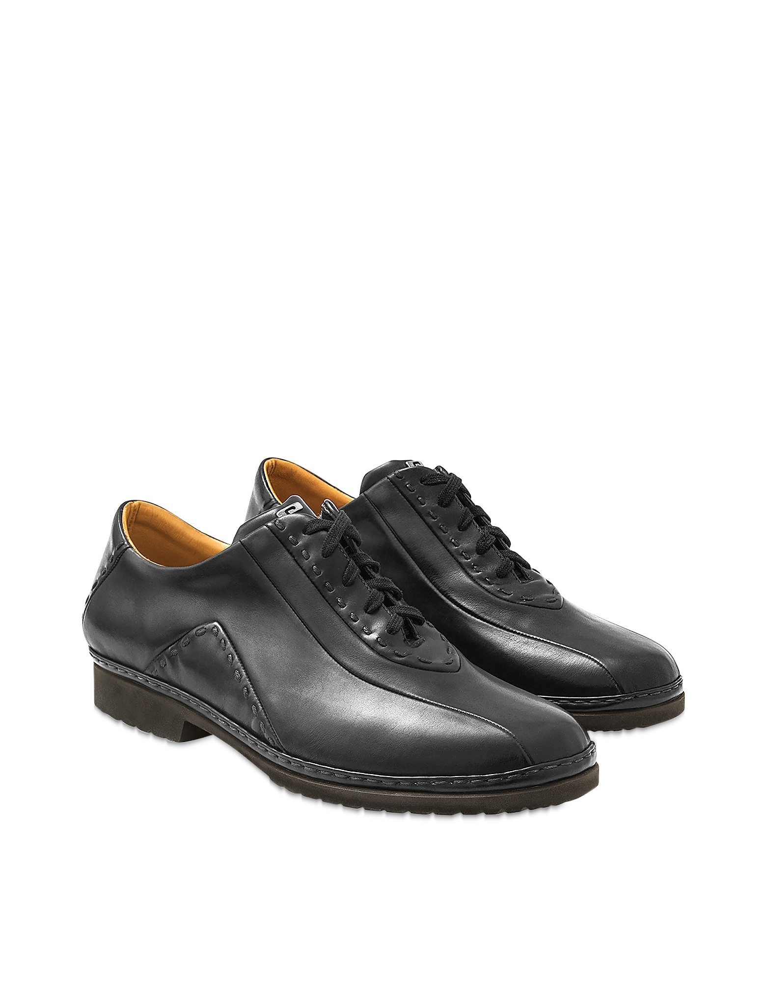 Pakerson Designer Shoes, Black Italian Hand Made Calf Leather Lace-up Shoes