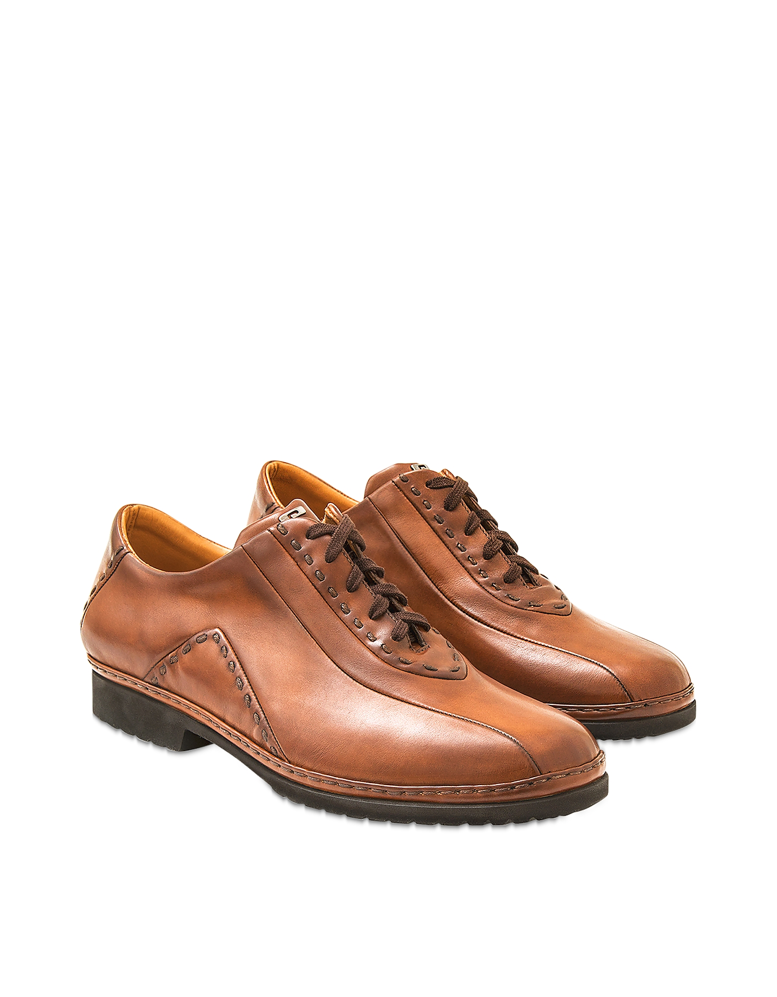 Pakerson Designer Shoes, Tan Italian Hand Made Calf Leather Lace-up Shoes