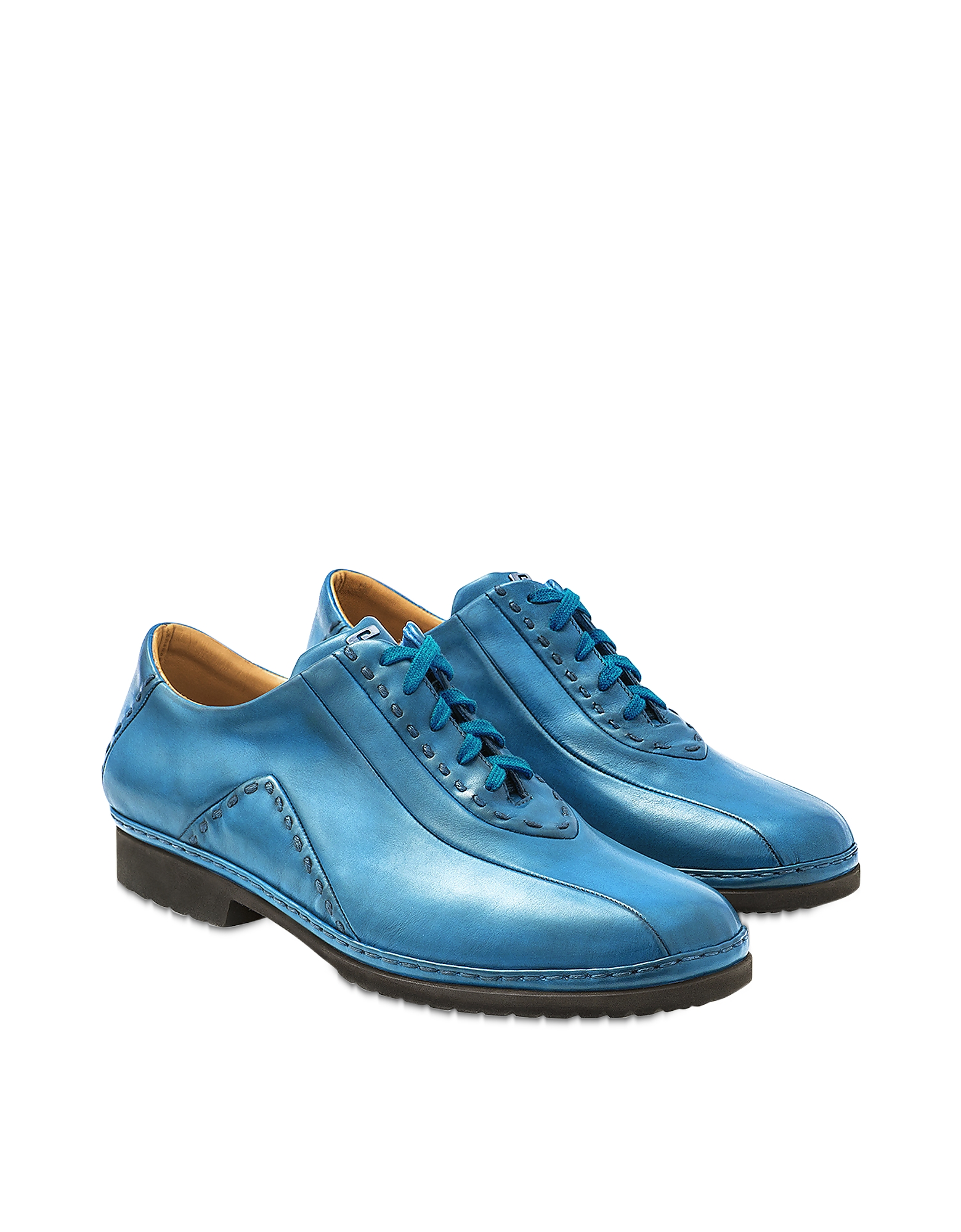 Sky Blue Italian Hand Made Calf Leather Lace-up Shoes