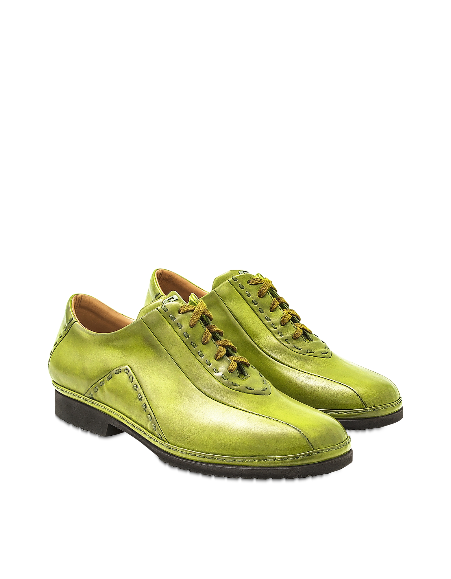 Pakerson Designer Shoes, Pistachio Italian Hand Made Calf Leather Lace-up Shoes