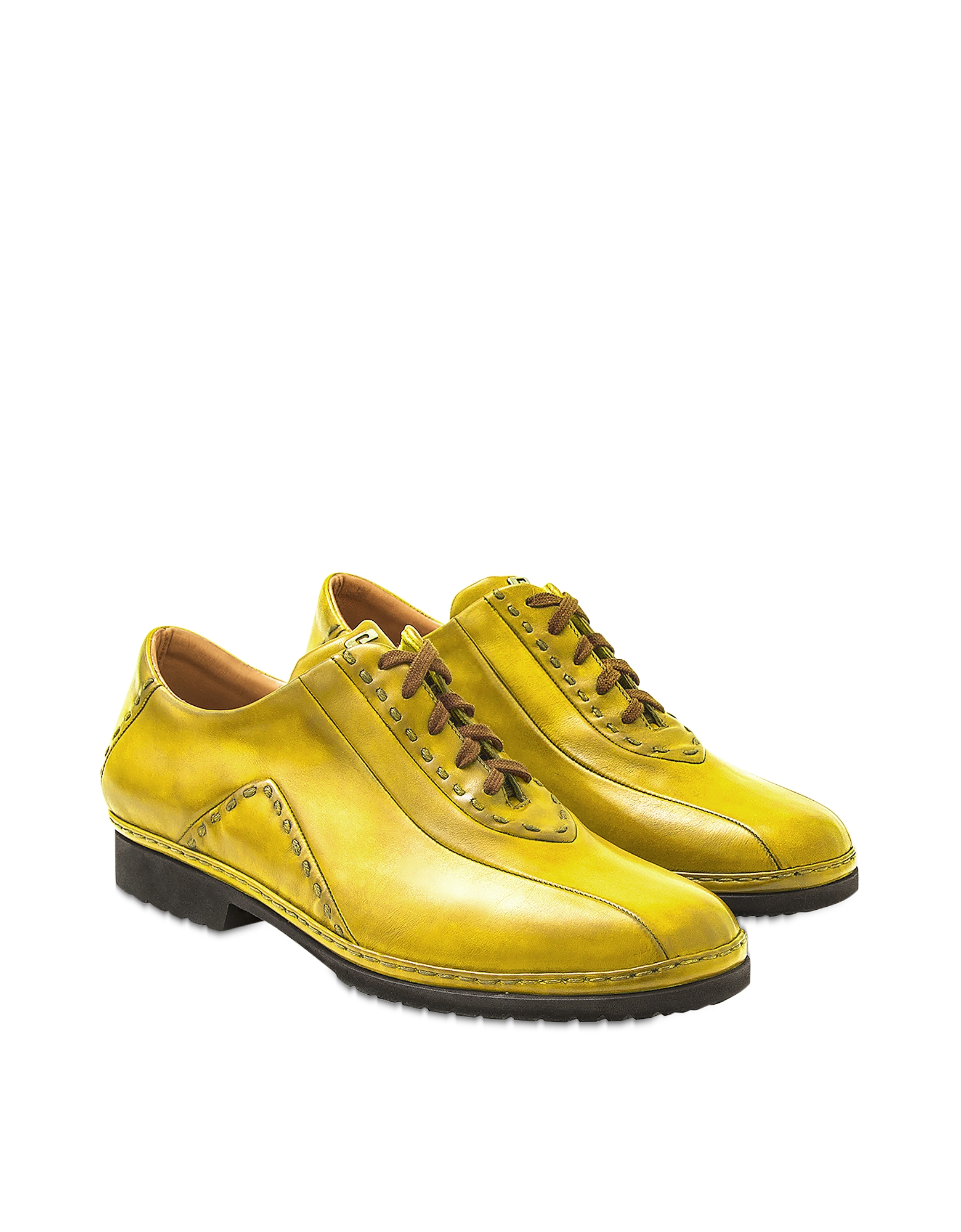 Pakerson Designer Shoes, Yellow Italian Hand Made Calf Leather Lace-up Shoes
