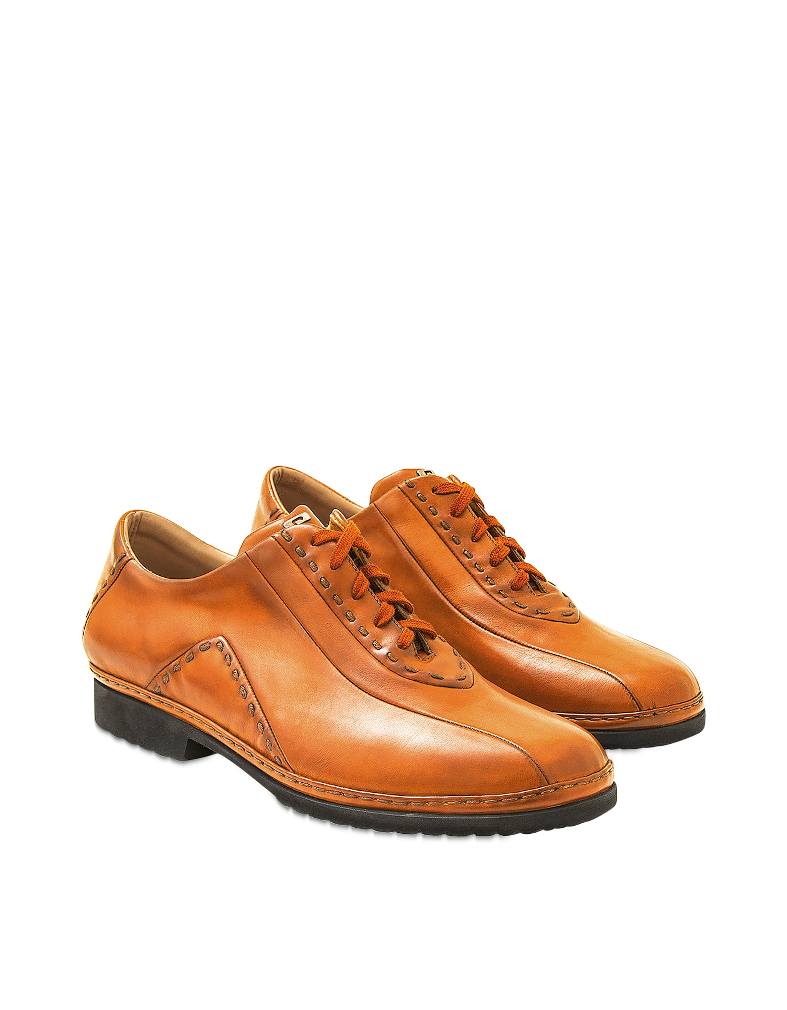Pakerson Designer Shoes, Orange Italian Hand Made Calf Leather Lace-up Shoes