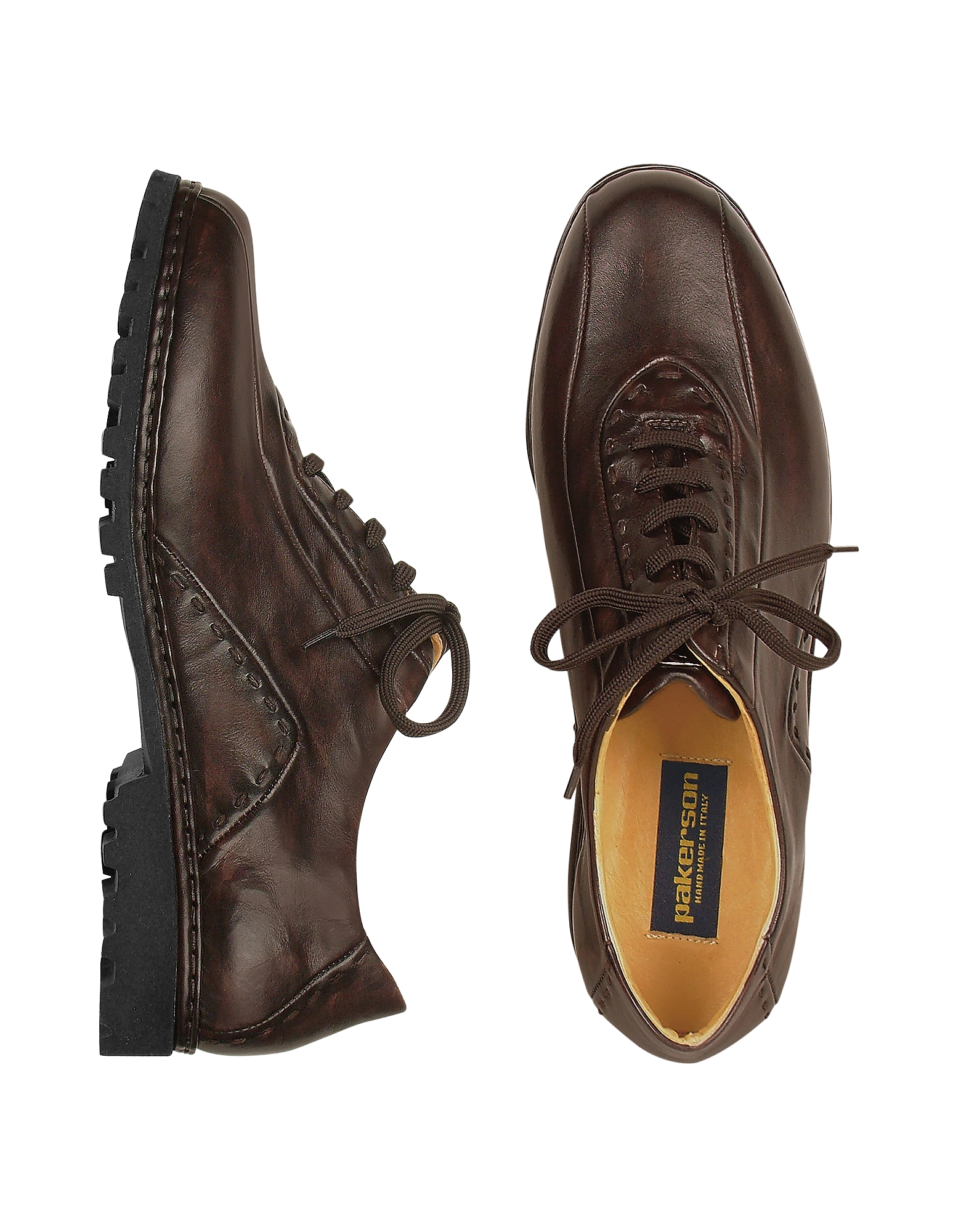 Pakerson Shoes, Dark Brown Italian Handmade Leather Lace-up Shoes